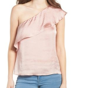 Love, Fire Pink Satin Ruffle One-Shoulder Top